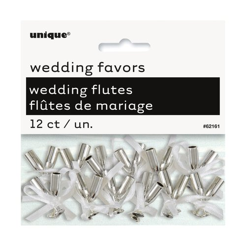 Mini Silver Champagne Flute Wedding Favor Charms, 12-Count
