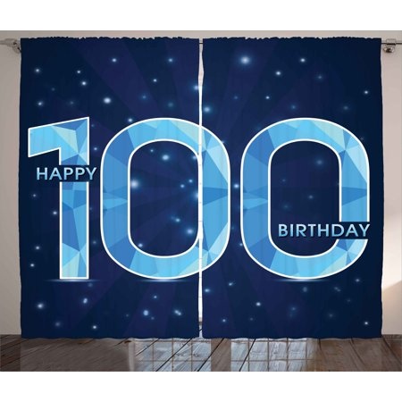 100Th Birthday Decorations Curtains 2 Panels Set  Happy Birthday Old Grandparents Century Party Image  Window Drapes For Living Room Bedroom  108W X 90L Inches  Sky Blue And Navy Blue  By Ambesonne