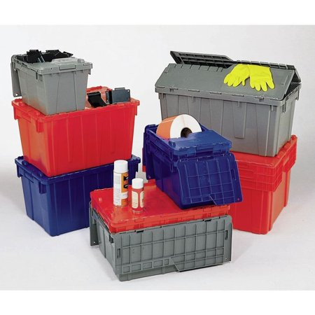 Red Storage Totes with Hinged Lids, 22 x 15 x 10 By Retail Resource Ship from US