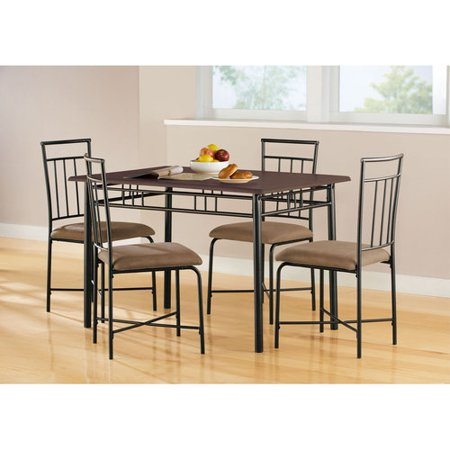 Mainstays 5 piece wood and metal dining set for Dining room sets walmart