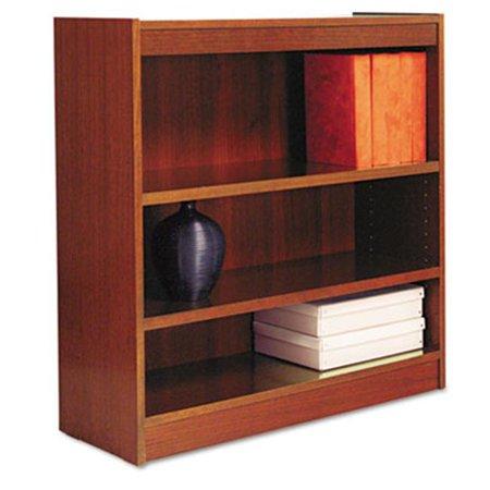 Square Corner Bookcase Finished Back Wood Veneer 3 Shelf 36x12x36 Cherry
