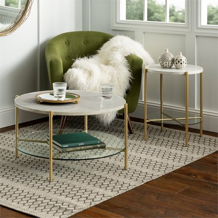 2 Piece Round Coffee Table Set White Faux Marble And Gold
