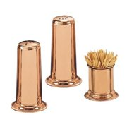 Old Dutch 937 4 in. H. Solid Copper Salt & Pepper Set with 2 in. Toothpick Holder