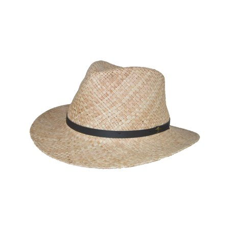 Men's Raffia Outback Hat with 3 Inch Brim and Kangaroo Badge,  Natural