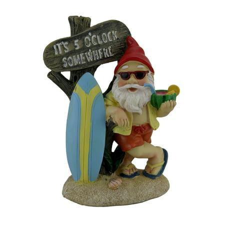 It's 5 O'clock Somewhere Tropical Beach Bum Gnome Statue - image 3 de 3