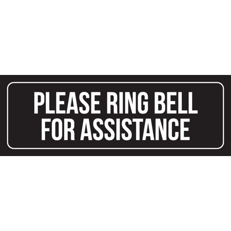 Black Background With White Font Please Ring Bell For Assistance Rustic Country Vintage Office Metal Wall Sign, 3x9 Inch