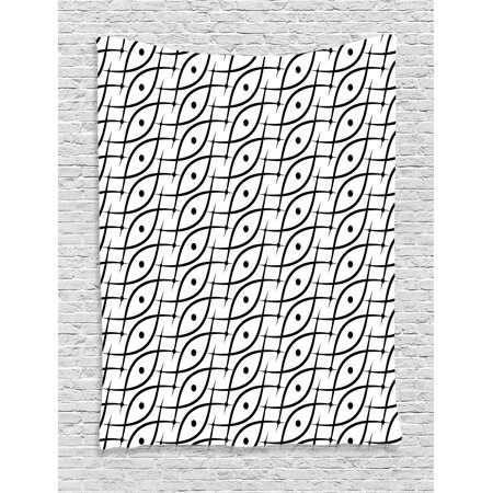 - Geometric Decor Tapestry, Trippy Linked Leaf Shaped Figures with Dots Spots Minimalist Grid Design, Wall Hanging for Bedroom Living Room Dorm Decor, 40W X 60L Inches, Black White, by Ambesonne