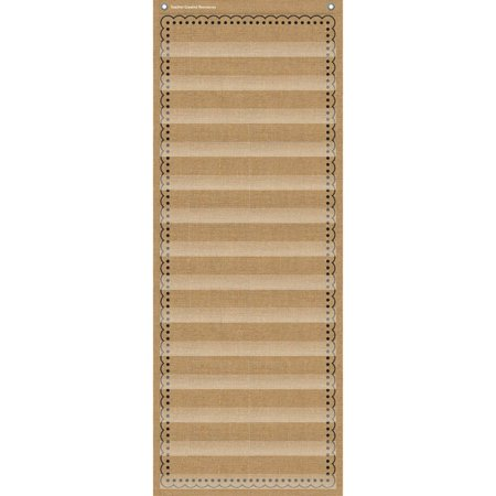 14-POCKET POCKET CHART BURLAP 13X34