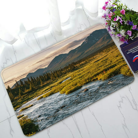 PHFZK Mountain Landscape Nature Scenery Doormat, River on Alaska Doormat Outdoors/Indoor Doormat Home Floor Mats Rugs Size 30x18