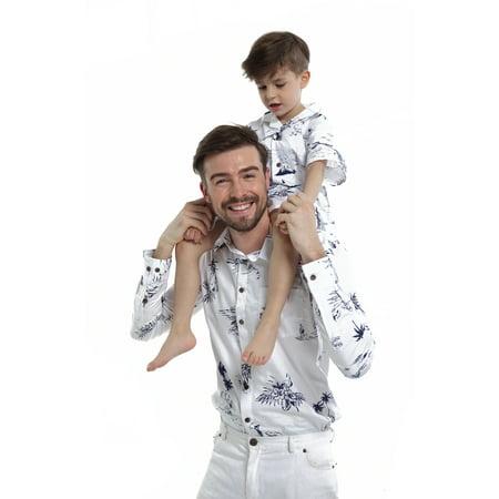 Matching Father Son Hawaiian Luau Outfit Men Shirt Boy Shirt Shorts Classic White Flamingo S-6