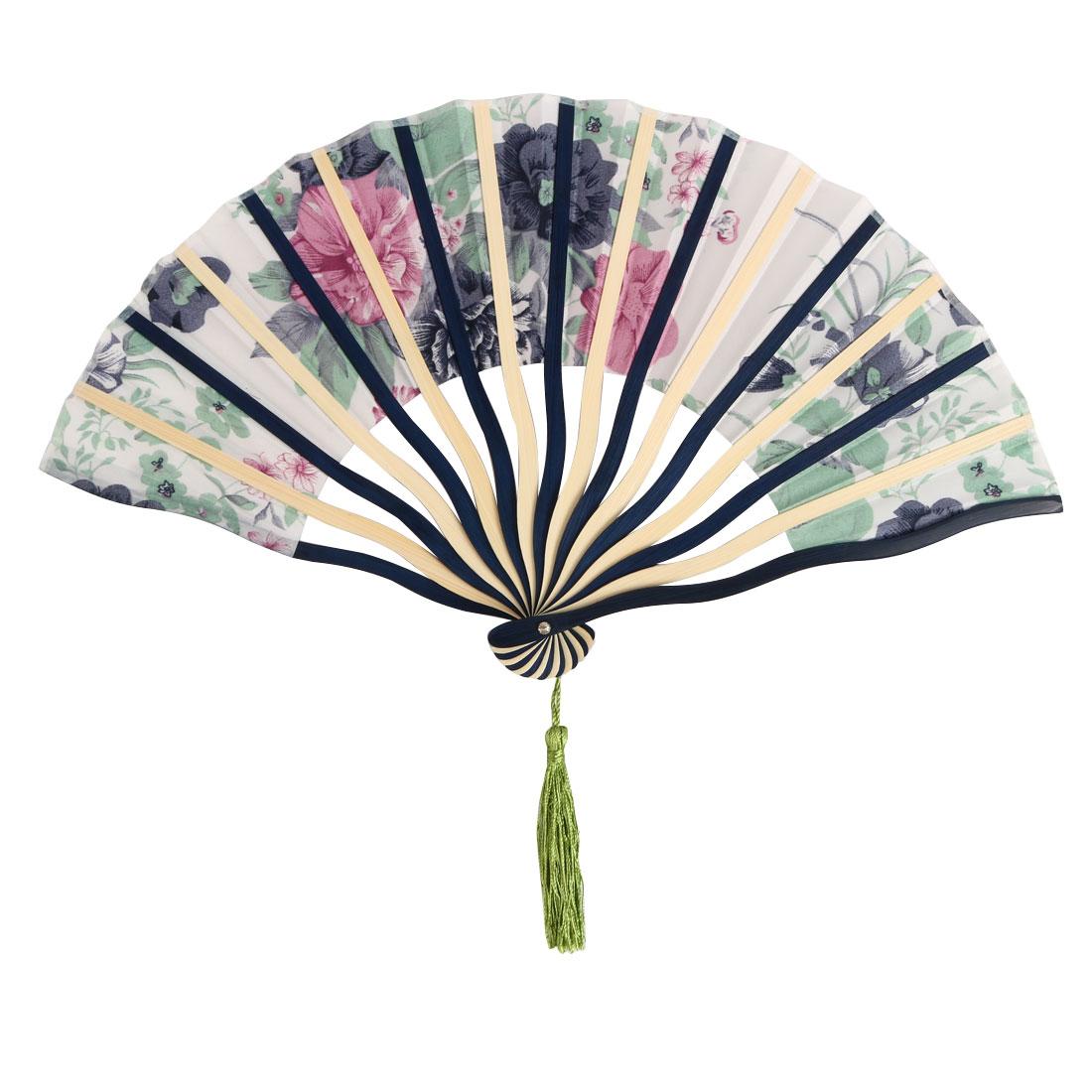 Women Dancing Polyester Flower Pattern Party Dance Tassel Hand Folding Fan - image 2 de 5