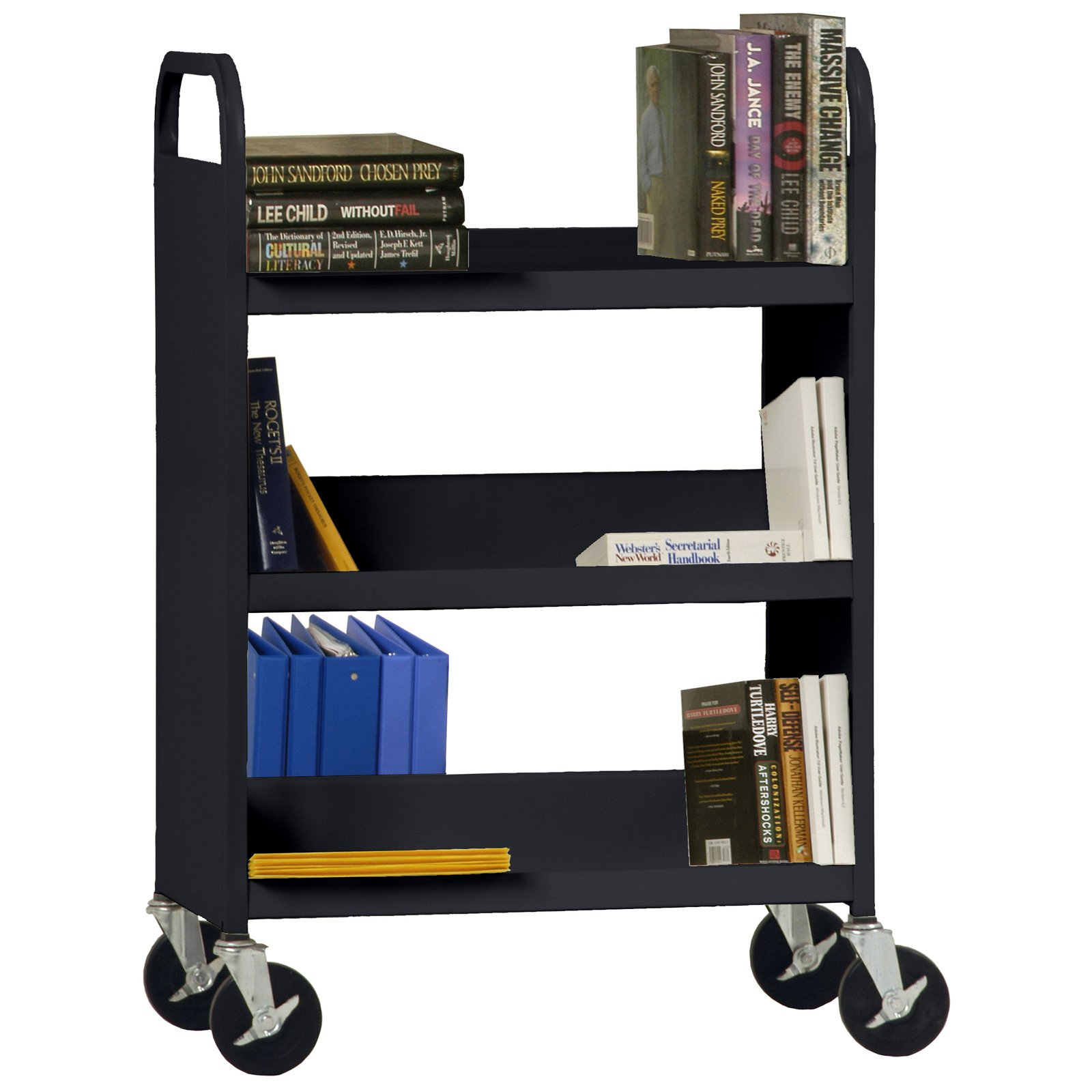 5 Combination (bottom flat) -Shelf Booktruck in Black