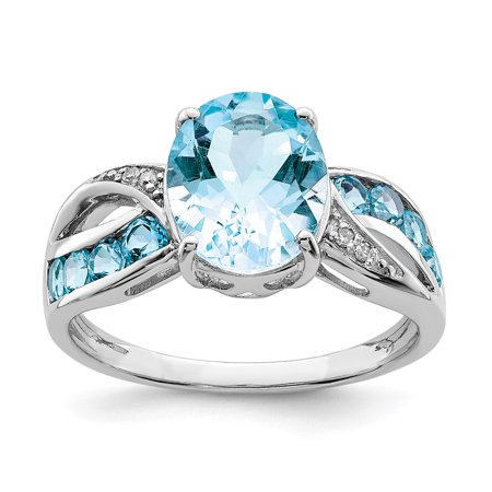 Sterling Silver 2 MM Diamond and Light Swiss Blue Topaz Ring, Size 10