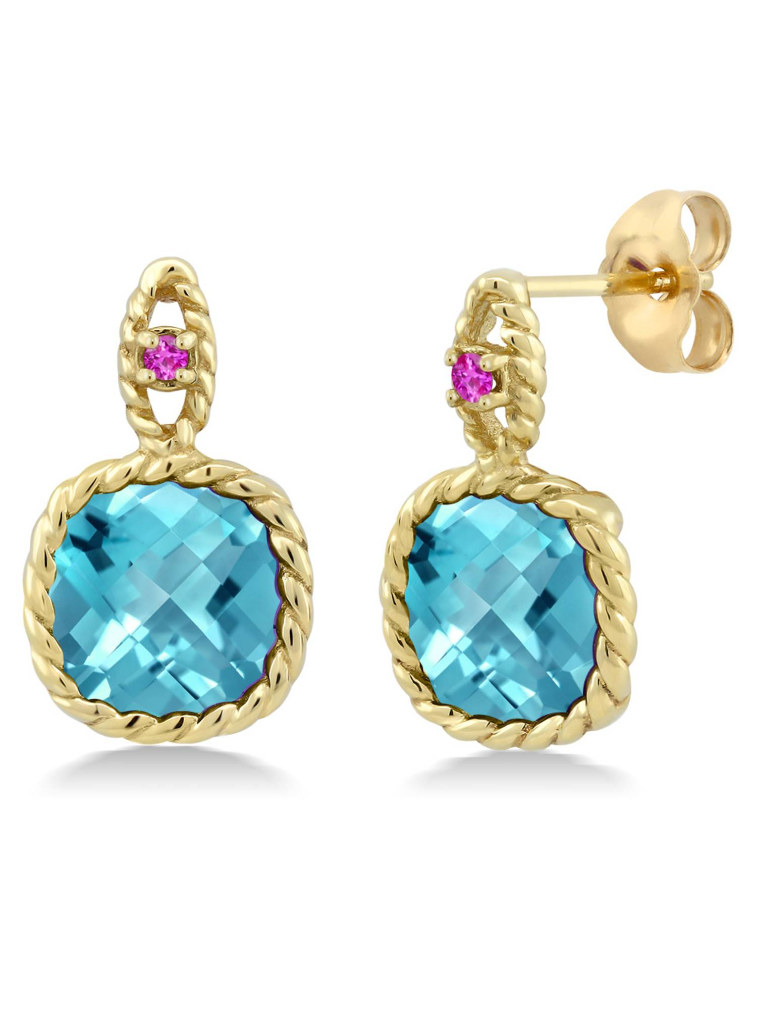 5.54 Ct Cushion Checkerboard Swiss Blue Topaz Pink Sapphire 10K Yellow Gold Earrings by