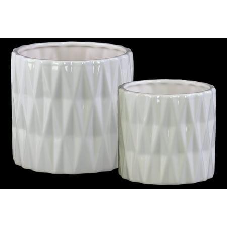 Urban Trends Collection: Ceramic Pot Gloss Finish White](Ceramic Pots)