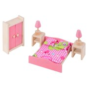 Eliiti Miniature Wooden Dollhouse Bedroom 9Pcs Furniture for Girls Kids 3 to 7 Years Old