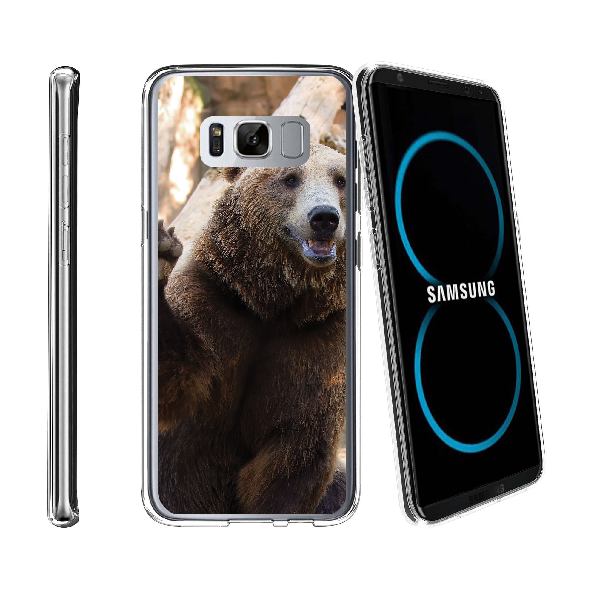 Case for Samsung Galaxy S8 Plus | Galaxy S8 Plus Transparent Silicone Case [ Flex Force ] Flexible Clear Case Cute Animals Collection