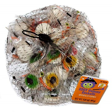 Eyeball Snacks Halloween (sugar pop (1) bag gummy eyeballs - 22 individually wrapped pieces halloween candy- assorted colors: green, yellow, red - net wt. 5.92)