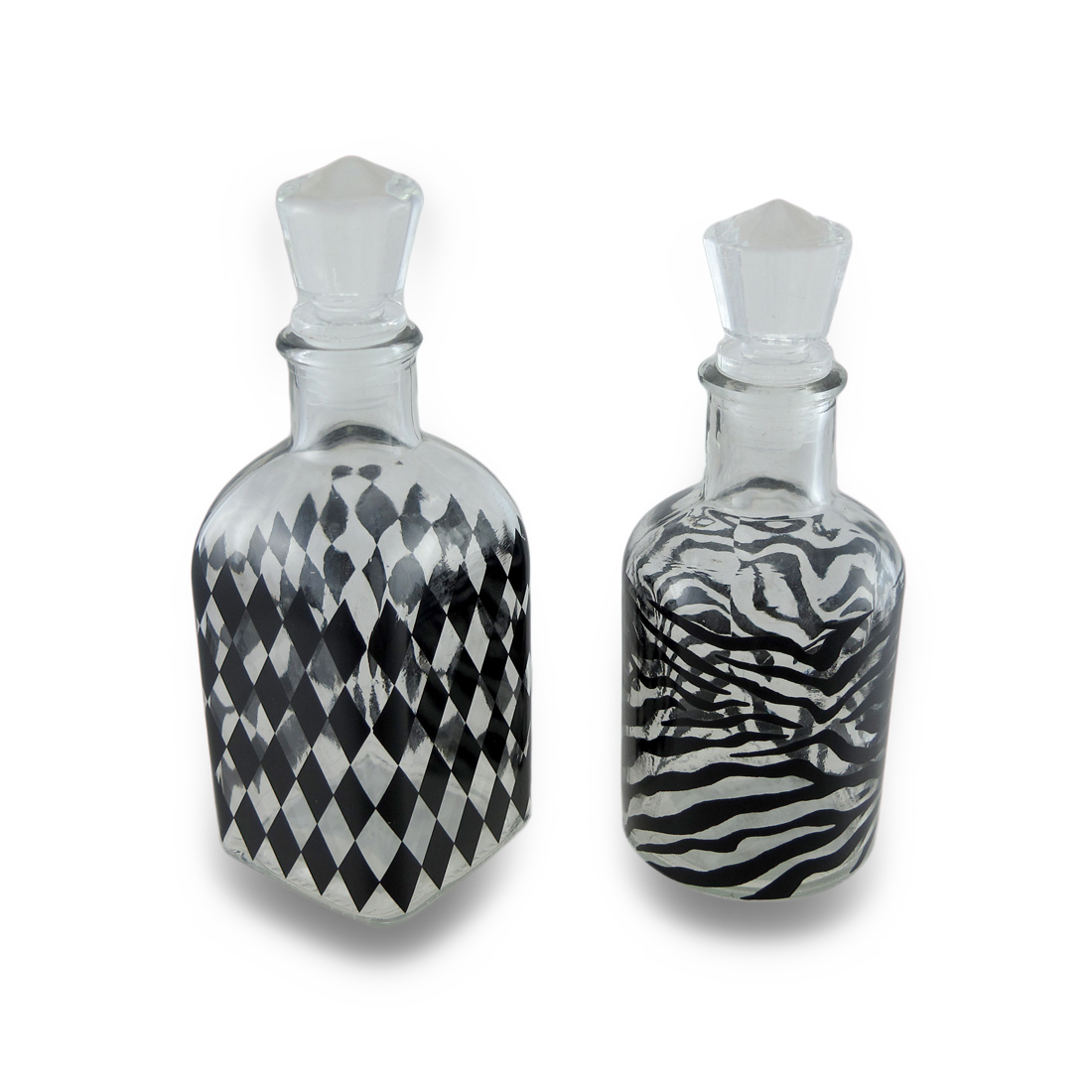Black & Clear Animal & Harlequin Print Decorative Glass Perfume Bottle Set of 2 by Housewares International, Inc.