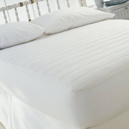 Fitted Mattress Pad 15 Skirt Cotton Cover Polyester Fill