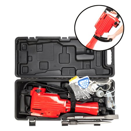 Ktaxon 2200W Heavy Duty Electric Demolition Jack hammer Concrete Construction Breaker, High Impact Powerful Tool, w/Carrying Case and Gloves, Red