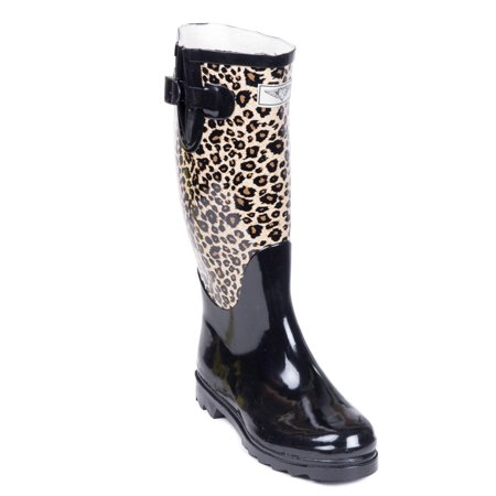 Women Rubber Rain Boots with Cotton Lining, Animal Print (Womens Rubber Boot Liners)