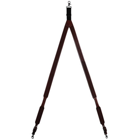 3d western suspenders men galluse basketweave lacing leather tan -