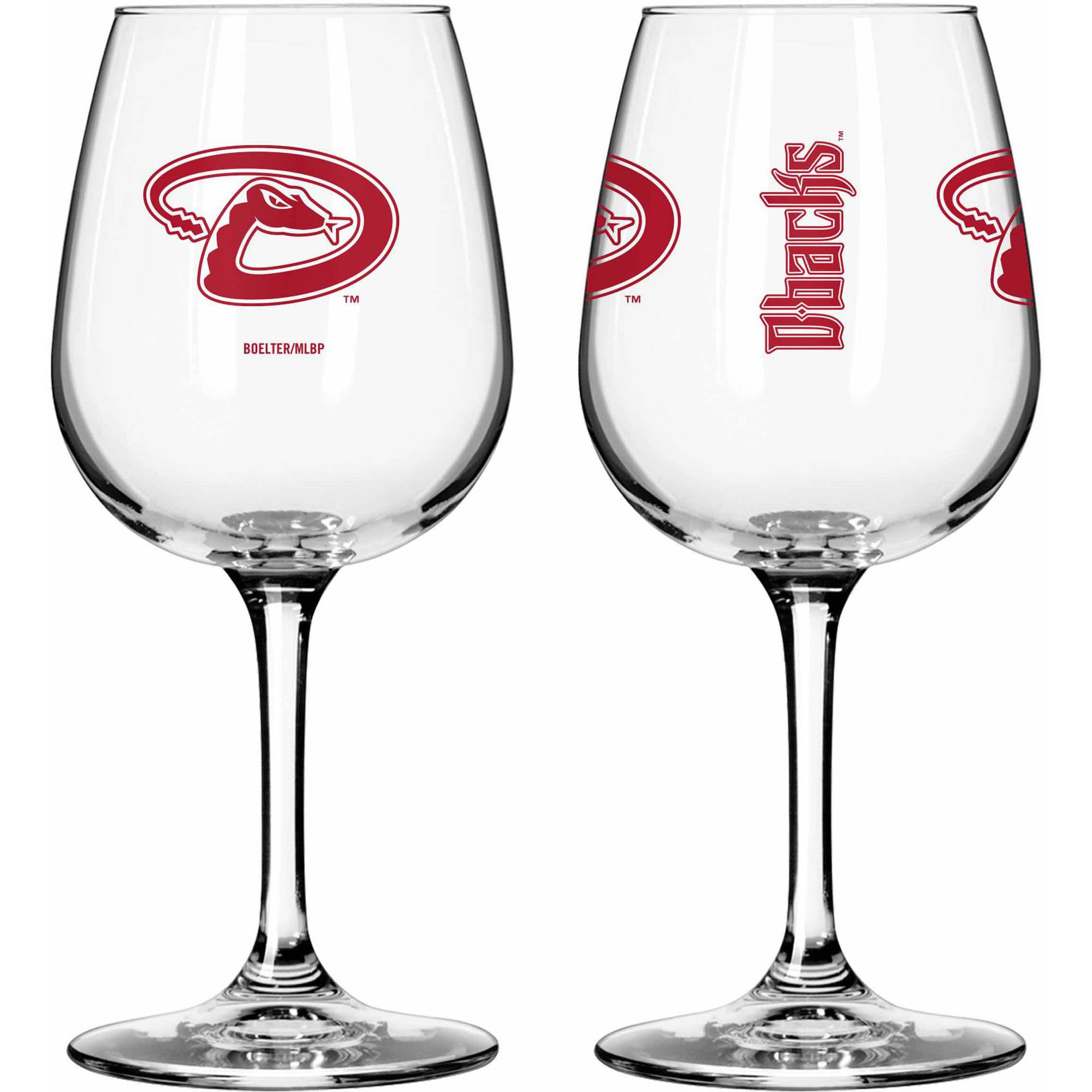 Boelter Brands MLB Set of Two 12 Ounce Wine Glass Set, Arizona Diamondbacks