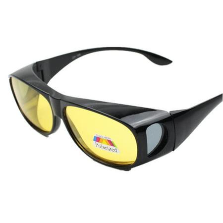 Unisex HD Lenses Polarized Sunglasses Wear over Prescription Glasses Night Vision Anti-sand Anti-glare Glasses UV (Wear Your Sunglasses At Night)