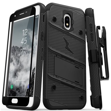new styles 412e9 fad9c Zizo BOLT Series compatible with Samsung Galaxy Amp Prime 3 Case Military  Grade Drop Tested with Tempered Glass Screen Protector Holster