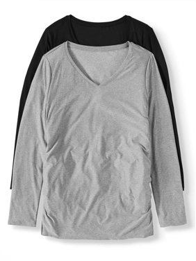 Maternity Time and Tru Long Sleeve T-shirt, 2-Pack (Available in Multiple Colors)