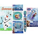 Disco Items (Frozen Olaf Summertime Beach towel goggles swim raft Flying disc water blaster beach ball bundle of 6 Items)