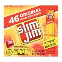 Slim Jim Snack-Sized Smoked Meat Stick Original Flavor Keto Friendly Snack Stick 0.28 Oz 46 Count