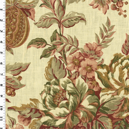 Vintage Linen Printed Floral Home Decorating Fabric