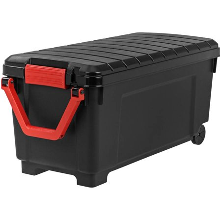 IRIS 169 Qt. Store-It-All Plastic Storage Tote with Handle and Wheels, Black
