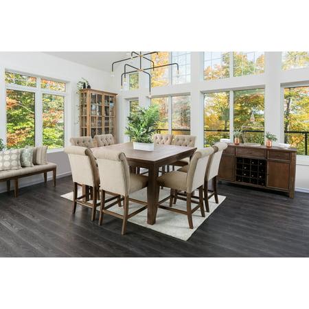 Furniture of America Bennington Rustic Oak Counter Height Dining Table