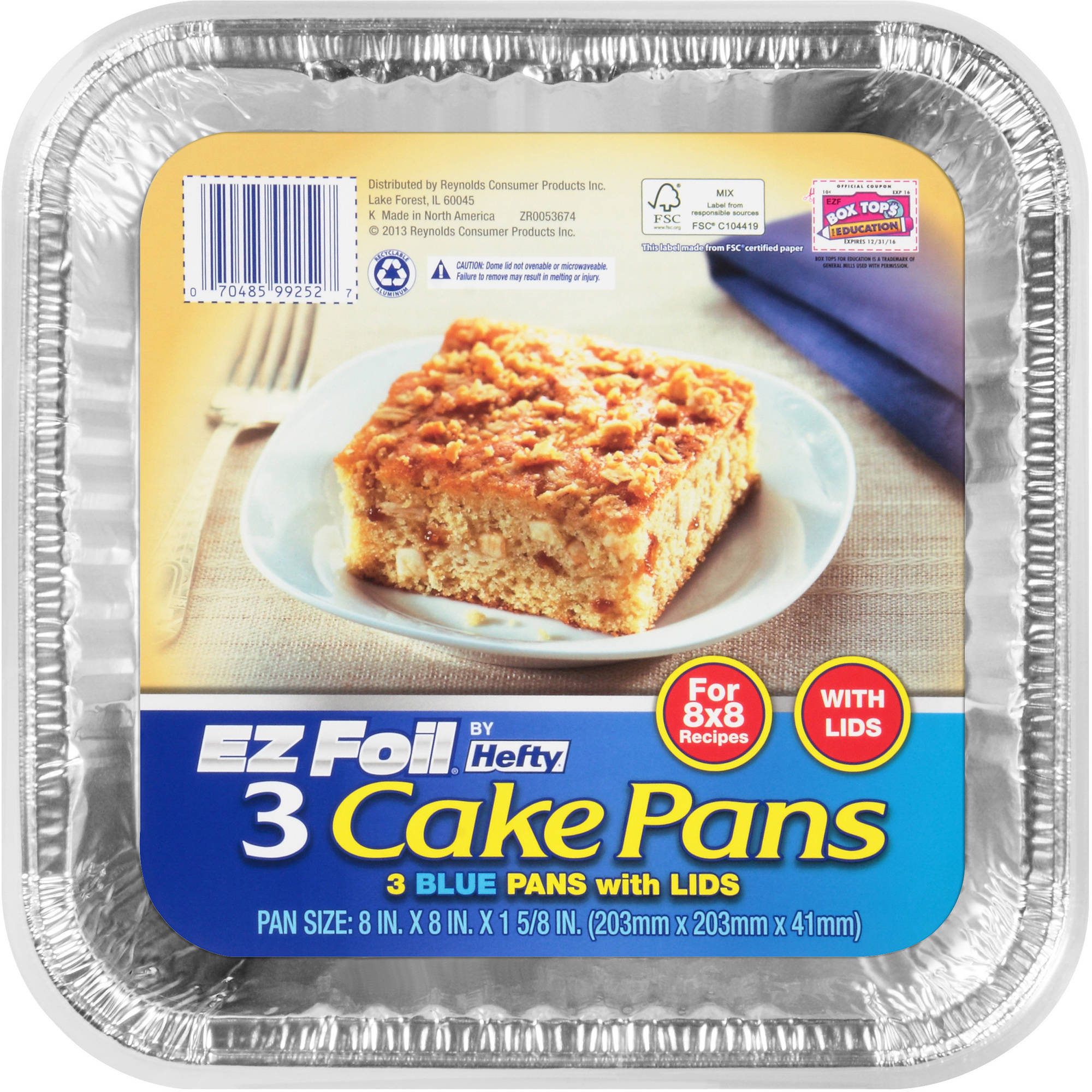 Hefty EZ Foil Blue Square Cake with Lids, 3-Pack