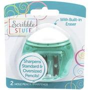 Scribble Stuff 2-Hole Pencils Sharpener with Eraser 1 Count
