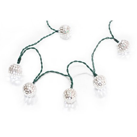'Holiday Time Battery Operated Silver Die cut Globe Christmas Lights - Cool White, 20 Count with Timer