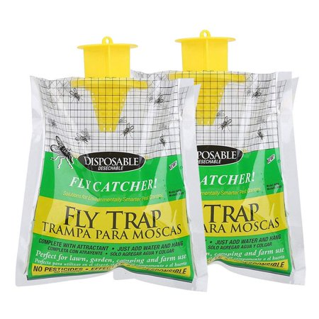 Fysho Fly Trap Bag 2 Pack Disposable Fly Catcher with Bait, No-Toxic Outdoor Hanging Bait Bag Perfect for Lawn, Garden, Camping and Farm