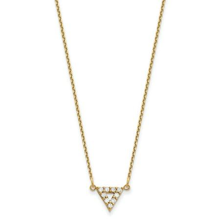 Diamond Triangle Necklace - 14ky AA Quality Diamond 9mm Triangle Necklace