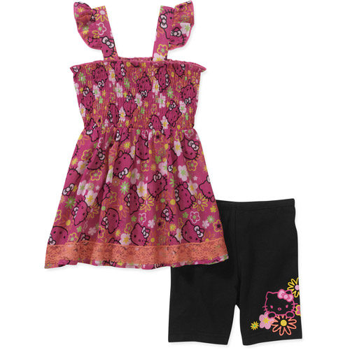 Hello Kitty Baby Toddler Girls' 2-Piece Smocked Tunic and Shorts Set