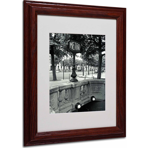 """Trademark Fine Art """"Le Metro"""" Matted Framed Art by Kathy Yates, Wood Frame"""