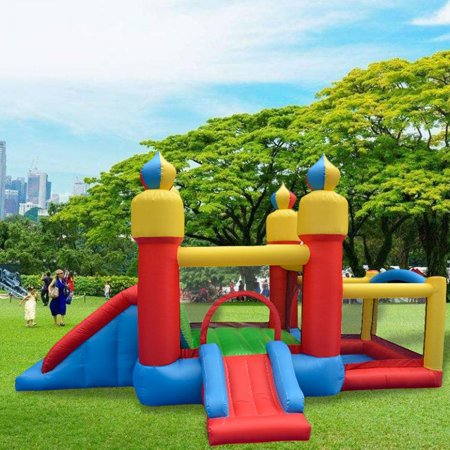 LEANO Children Kids Inflatable Bounce House Castle Jumper Bouncer Outdoor for Kids Slide Jumper Playhouse (192.9 x 94.5 x 76.8inch),420D Oxford Cloth With slide Without Blower