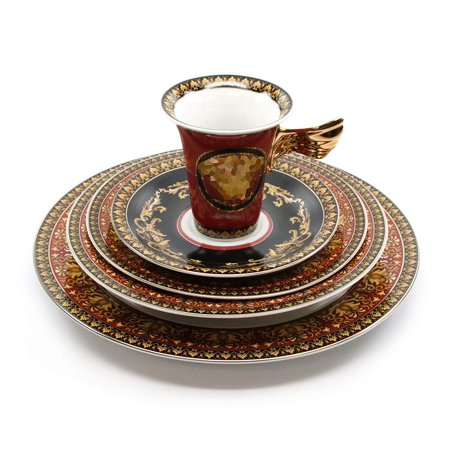 - Royalty Porcelain Vintage 5-pc Place Setting 'Red Medusa', Premium Bone China