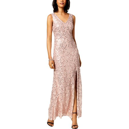 Nightway Womens Lace Sequined Evening Dress