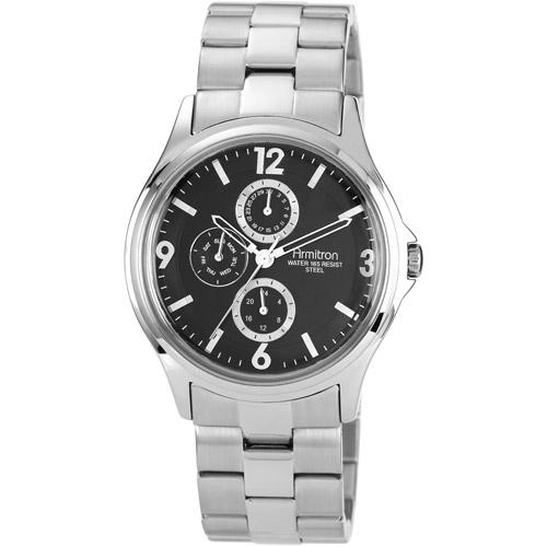 Armitron Men's Black Dial Watch, Silver-Tone Bracelet