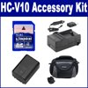 Panasonic HC-V10 Camcorder Accessory Kit includes: SDM-1529 Charger, SDC-26 Case, SDVWVBK180 Battery, KSD4GB Memory Card