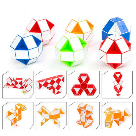 Magic Snake Red, Blue or Green Twist Cube Puzzle Twisty Toy collection for Children and adults with 24 Brain Teasing Wedges- Assorted Colors - Big Brain Toys