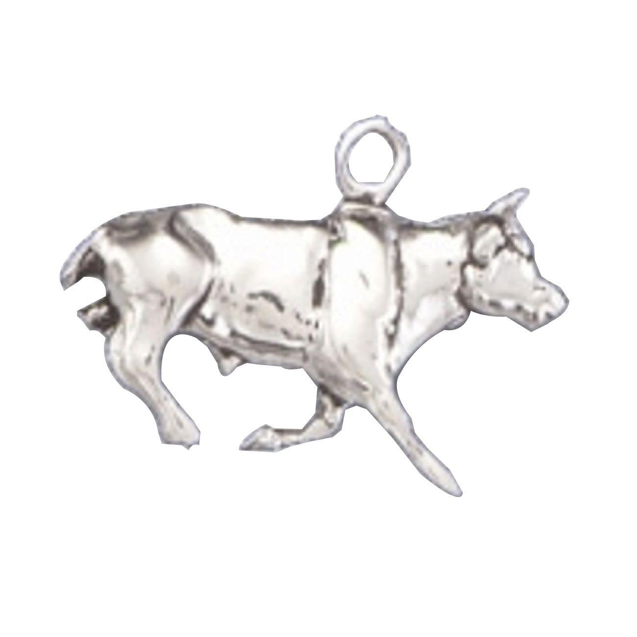 Sterling Silver Womens 1mm Box Chain 3D Adult Rhinoceros Pendant Necklace